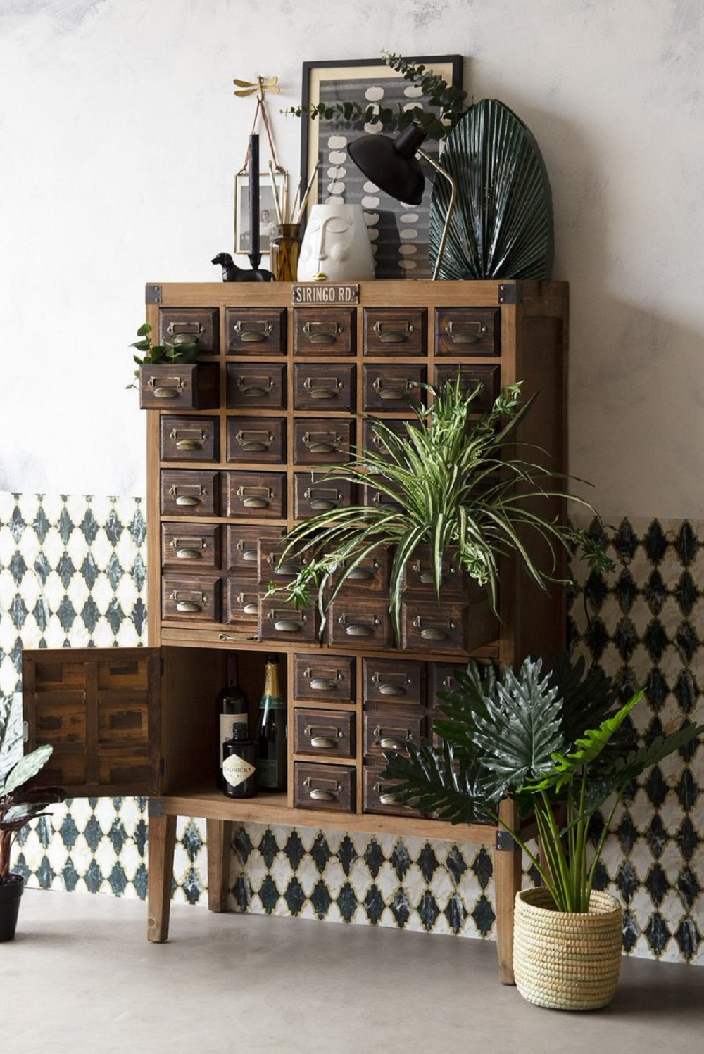 t3-66 How to use a vintage pharmacy cabinet in your home decor