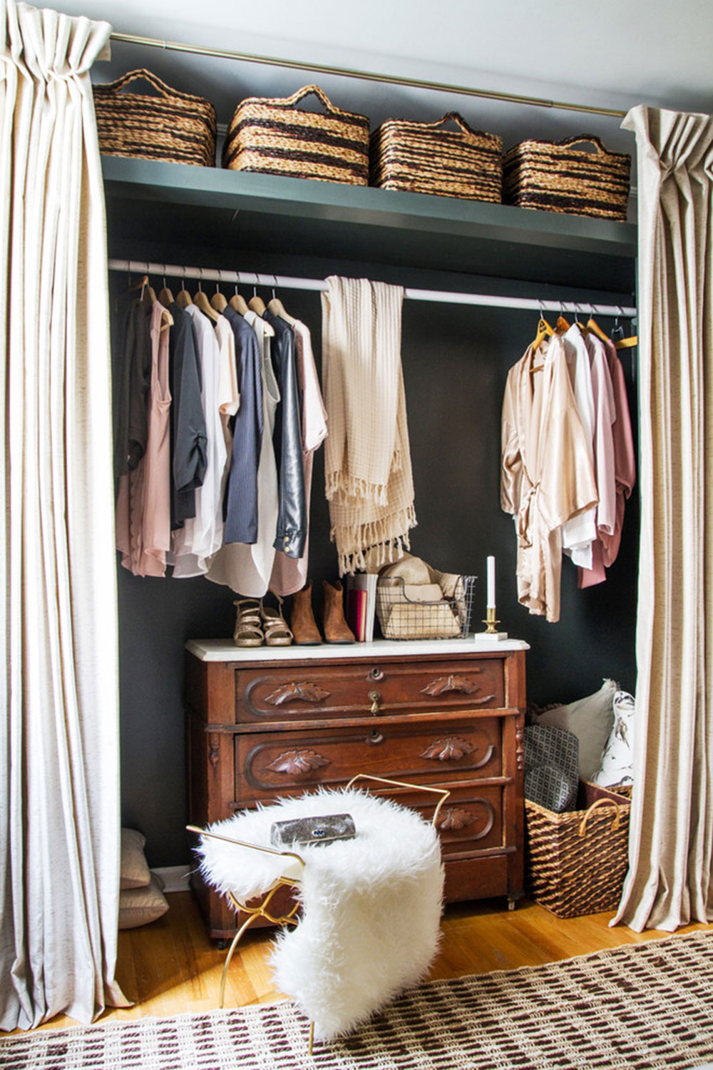 EM-Interiors-Chicago-One-Room-Challenge-2015-by-Kelly-Peloza-Photo-LLC How to Cover a Cabinet Without Doors (Inexpensive Options)