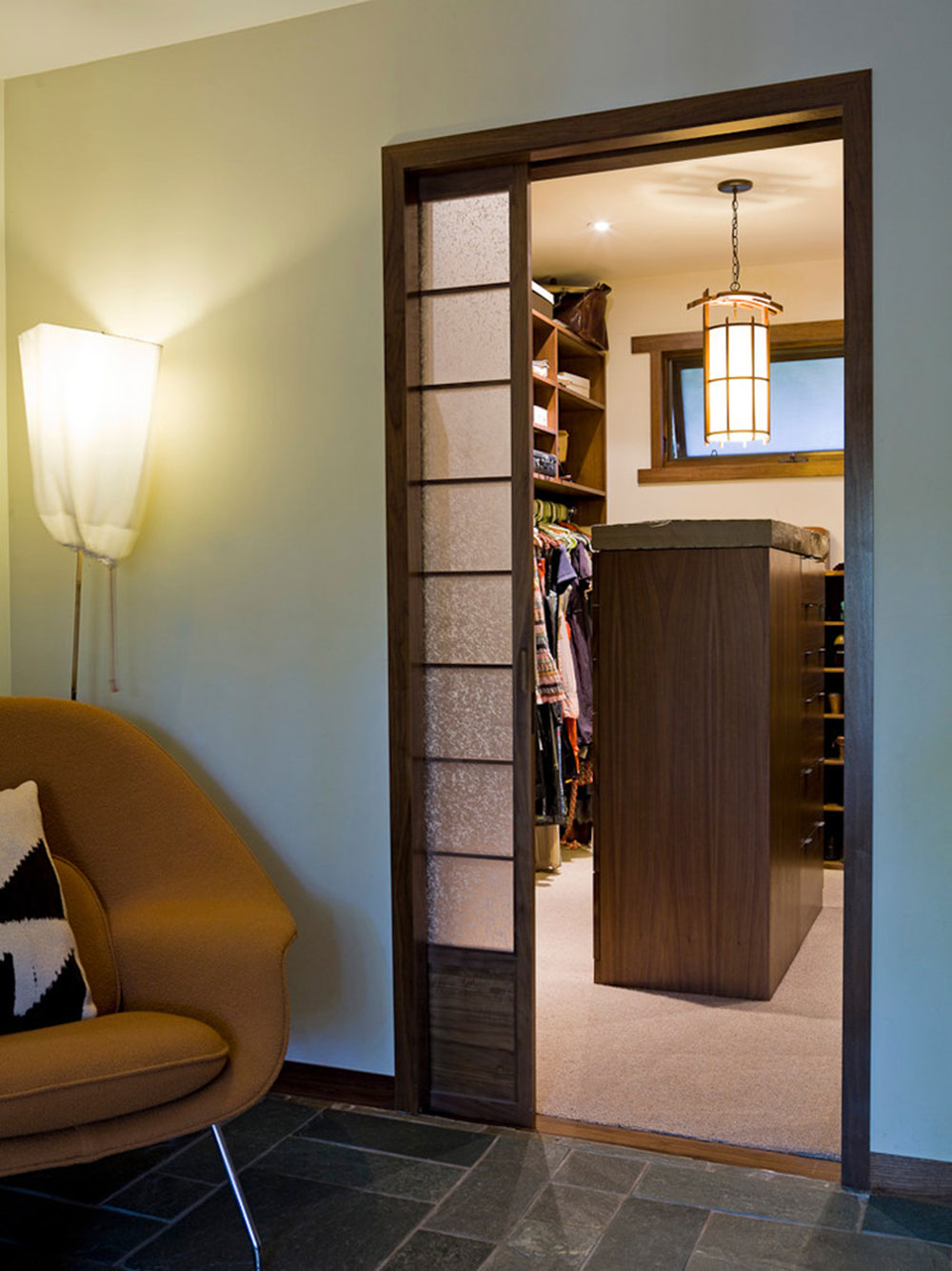 Comfy-Bungalow-by-Angela-Dechard-Design How to cover a closet without doors (inexpensive options)