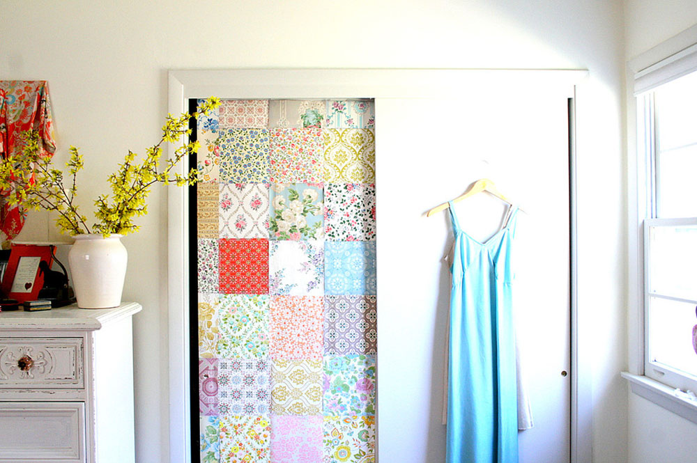 Wallpaper-bedroom-closet-by-Tamar-Schechner-Nest-Pretty-Things-Inc closet doors ideas you should try in your room