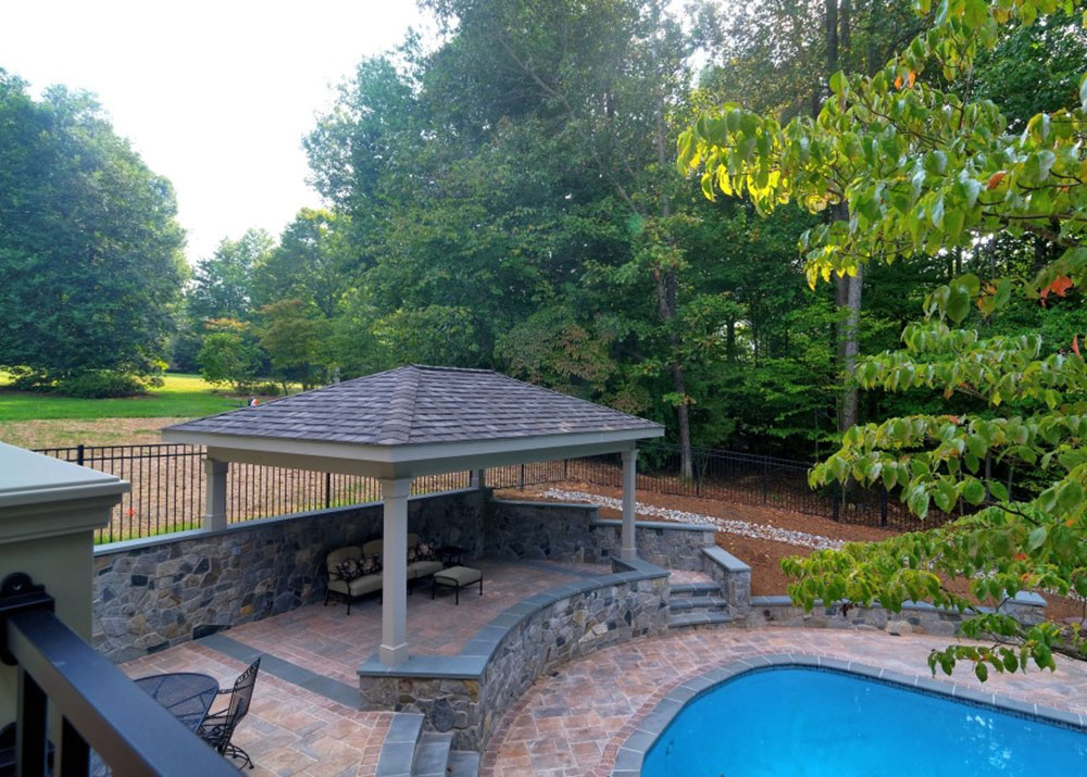 Oakton-Pavilion-with-Stone-Walls-by-Core-Outdoor-Living Backyard-Pavilions Ideas that embellish your green spaces