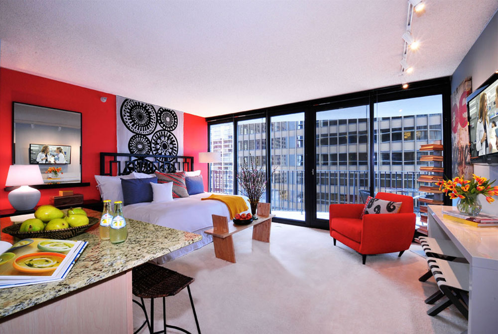 Aqua-Studio-Apartment-by-Mary-Cook How to choose the best studio apartment furniture for an efficient space