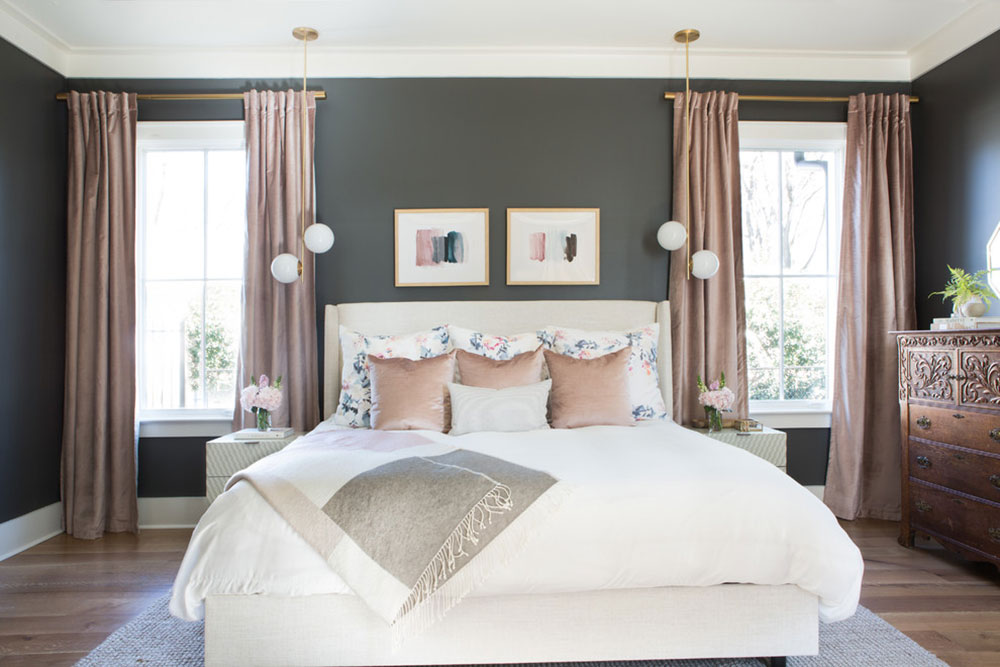 Charcoal-and-Blush-Master-Bedroom-by-Lindsey-Black-Interiors How to make transition decor and get a great result
