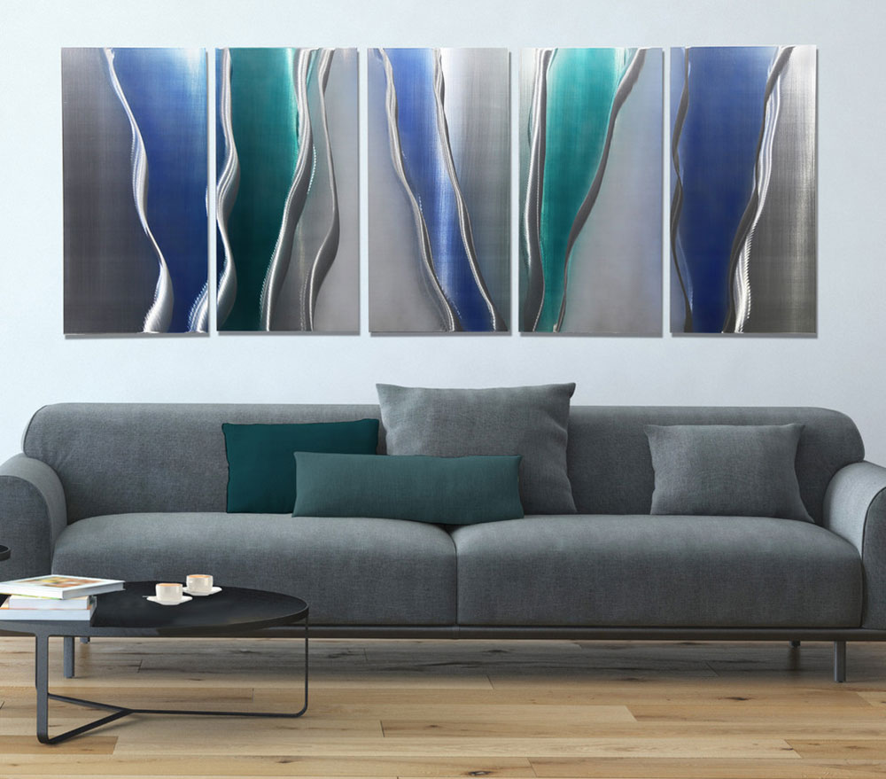 Glacier-Falls-Fusion-of-Silver-Blue-and-Turquoise-Abstract-Metal-Painting-by-Jon-Allen-Fine-Metal-Art wall painting ideas to try for your room