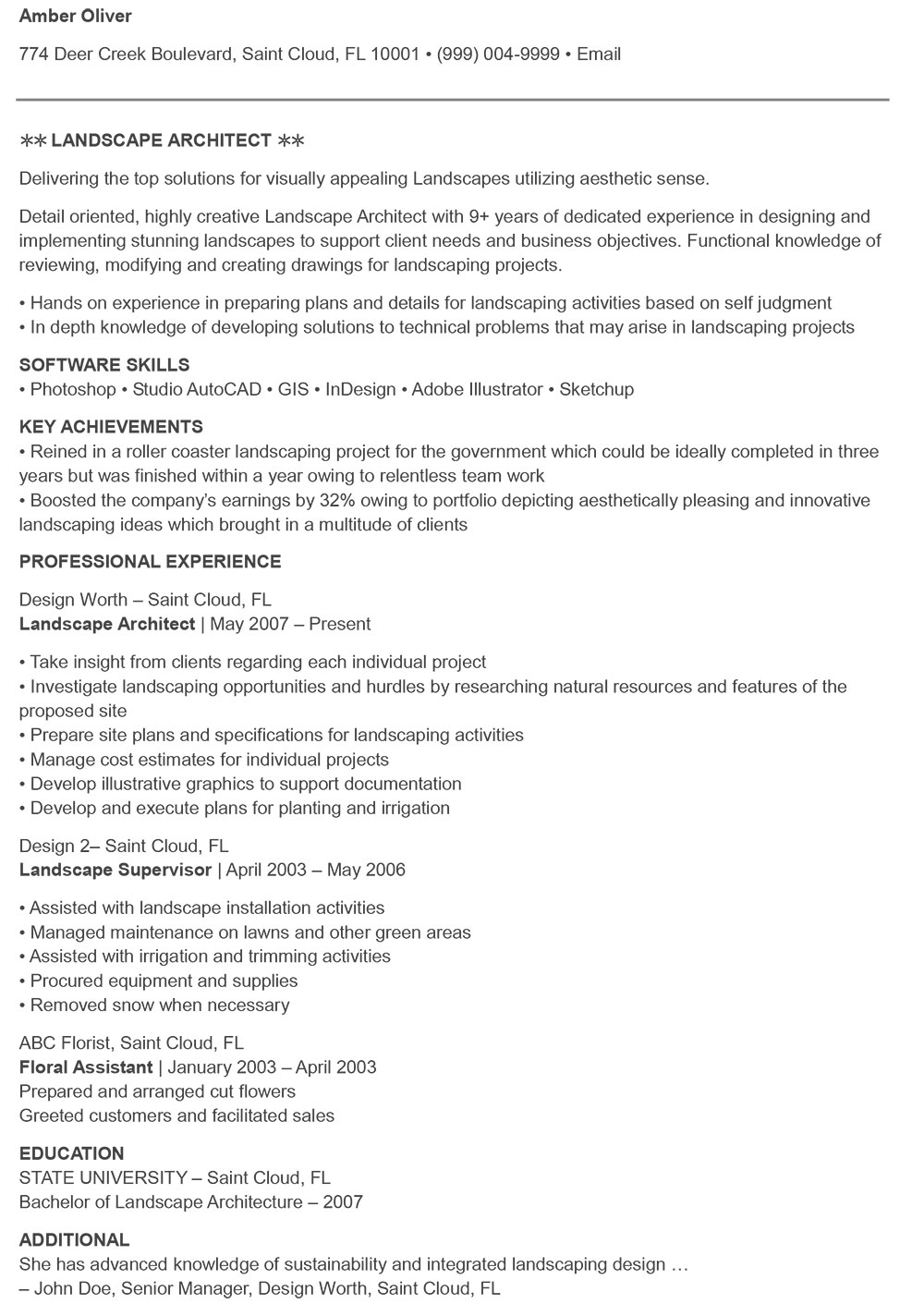 Example-landscape-architecture-resume-1 The architecture resume you will be hired with (templates included)