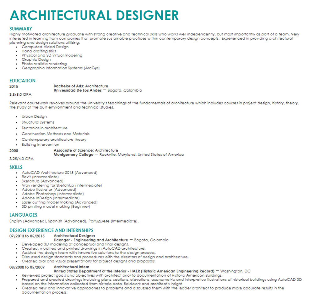 archi The architecture curriculum vitae with which you are hired (templates included)