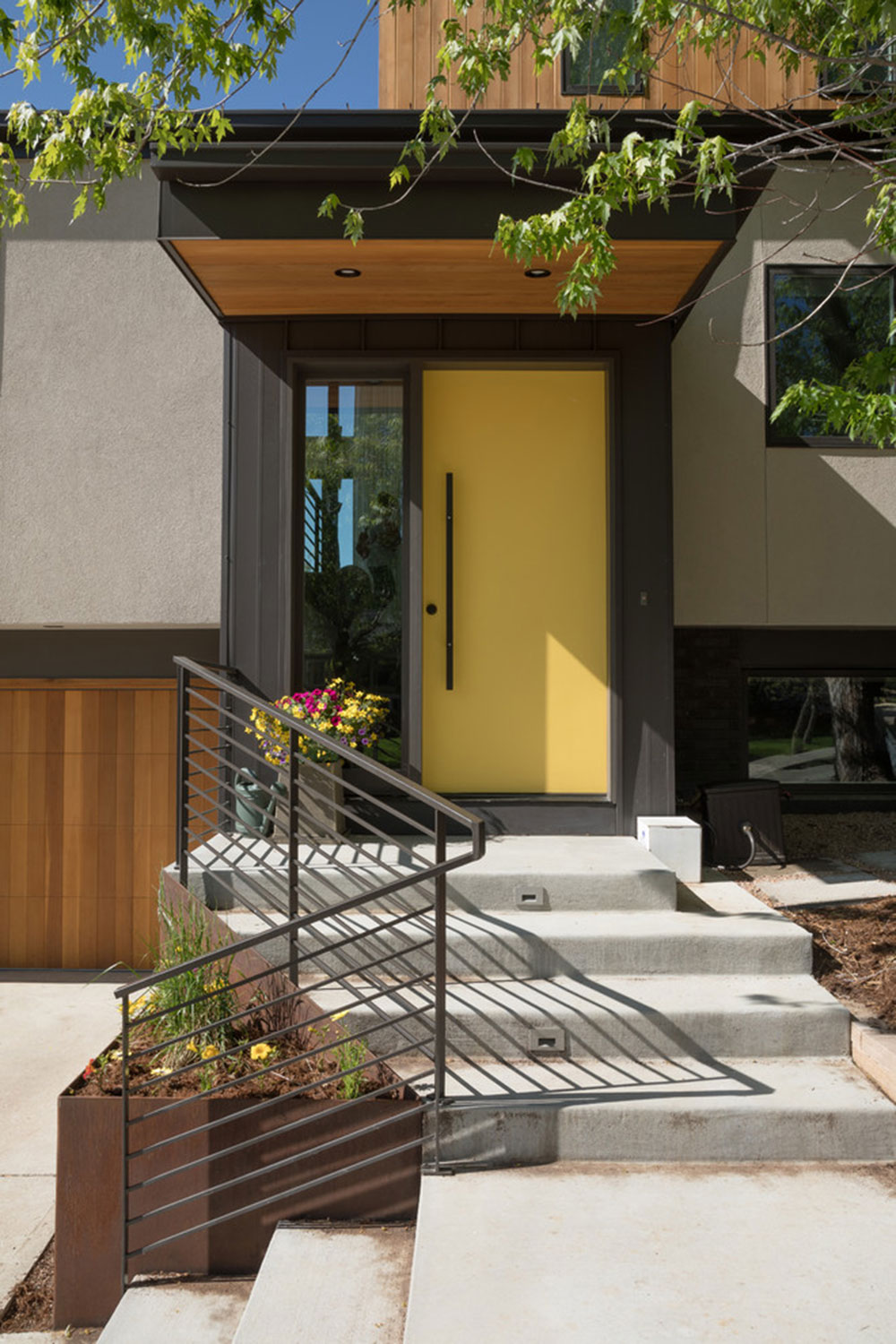Indoor-Outdoor-Living-Boulder-CO-von-Caddis-PC Yellow front door ideas for a lively house entrance