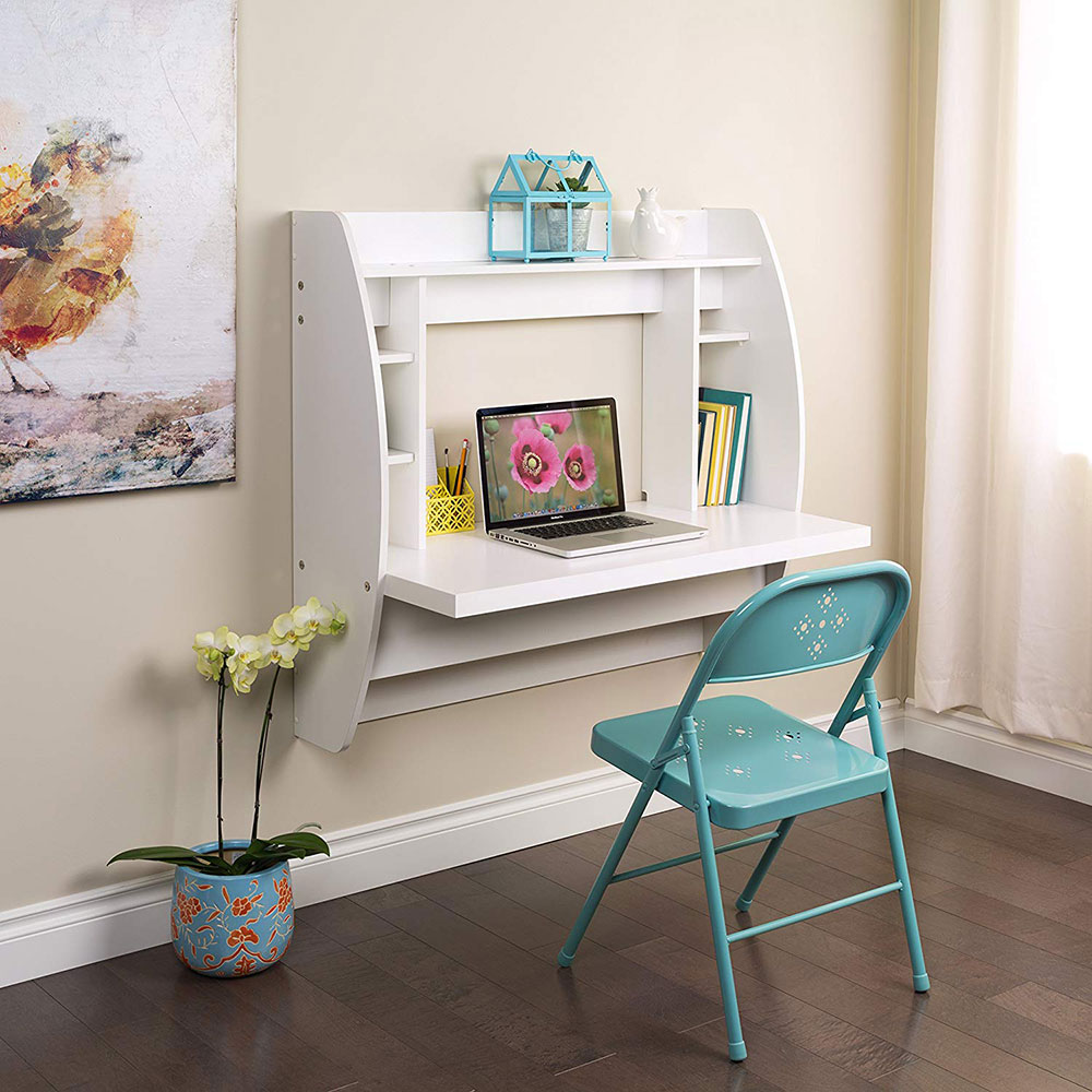 White-Floating-Desk-with-Storage Use a desk for a small space and the options that you can try
