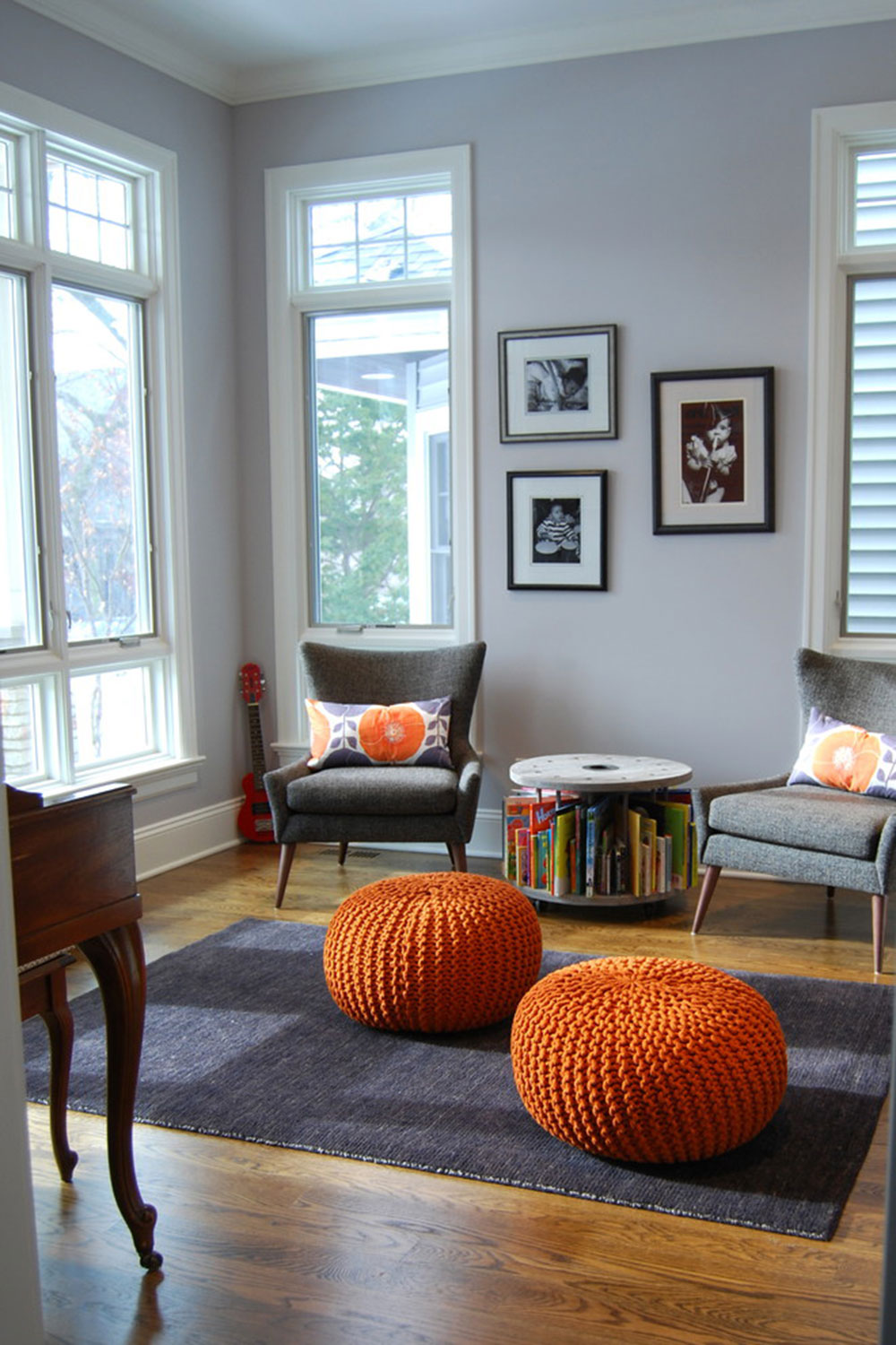 Sun-filled music and reading room from M-Interiors Tips on adding a wing chair to your room
