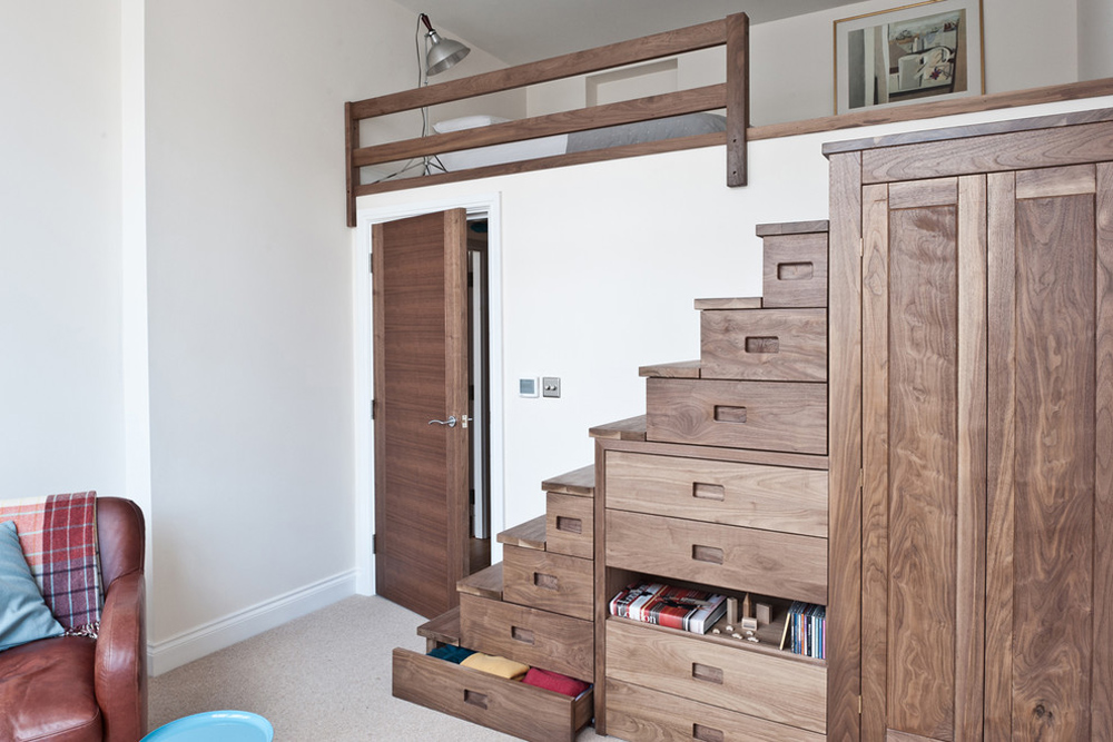Walnut stairs with storage solutions from Hiltongrove Bedroom storage ideas to make the most of your space