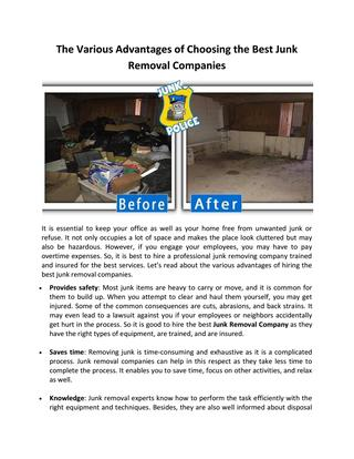 The Various Advantages of Choosing the Best Junk Removal Companies .