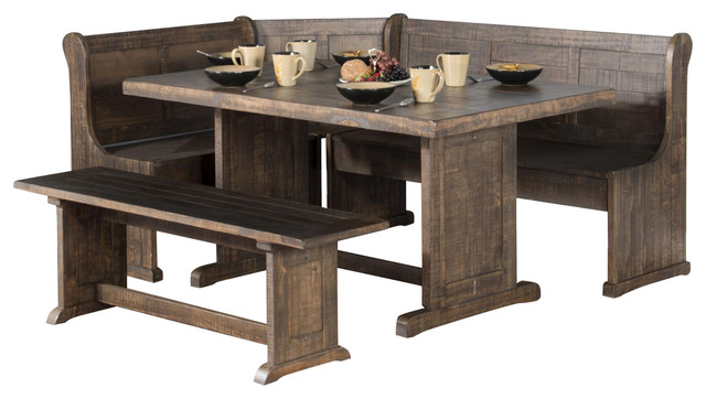 Sunny Design Homestead Breakfast Nook With Side Bench - Rustic .