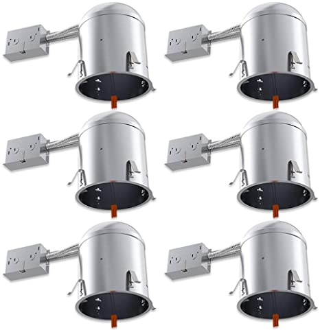 Sunco Lighting 6 Pack 6 Inch Remodel Housing, Air Tight IC Rated .