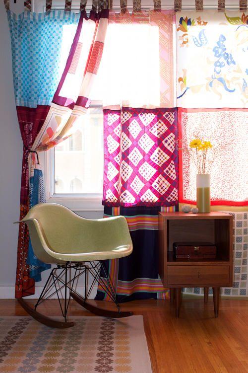 DIY Vintage Scarf Curtains Project | Diy boho decor, Diy curtains .