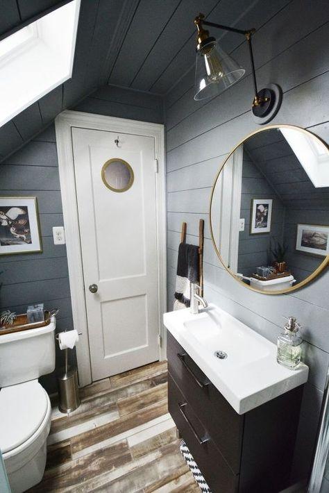 Tiny Attic Bathroom Gets A DIY Update | Attic renovation, Attic .