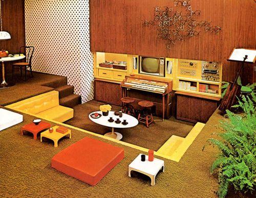 Super Seventies — 1970s interior design - media pit. | Sunken .