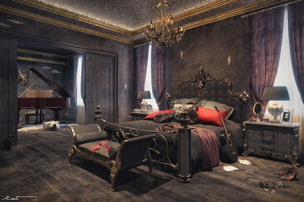 t1-57 Gothic bedroom ideas.  Impressive designs that will surprise you