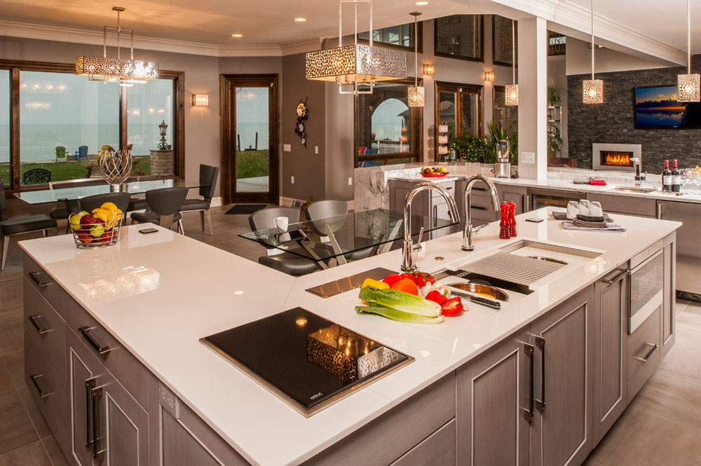 A-Customized-CreHarrison-Township-by-Woodmaster-Kitchens L-shaped kitchen island ideas to try out in your kitchen