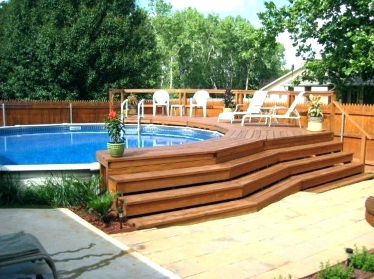 20 Luxurious Above Ground Pool Designs | Swimming pool decks, Oval .
