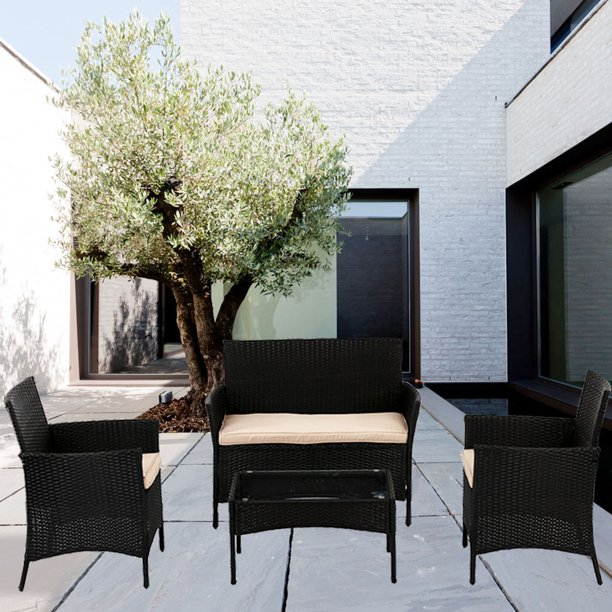 Patio Rattan Wicker Furniture Outdoor 4pc Rattan Sofa Garden .