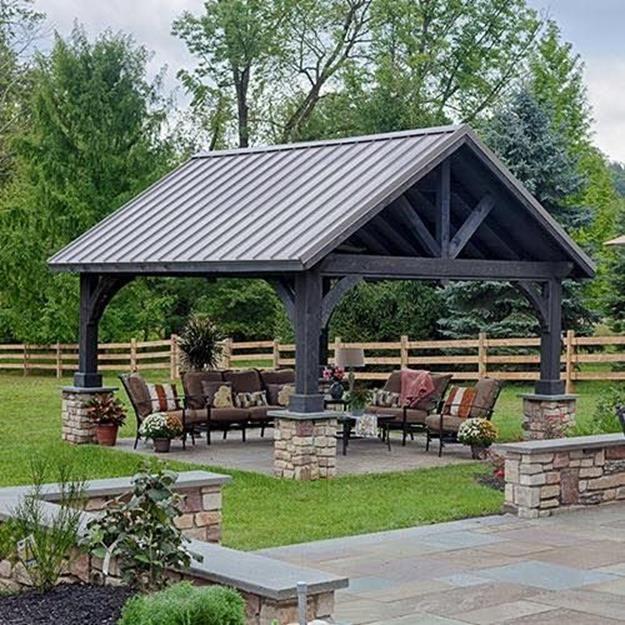 Inexpensive Backyard Pavilion Ideas 21   Backyard pavilion .