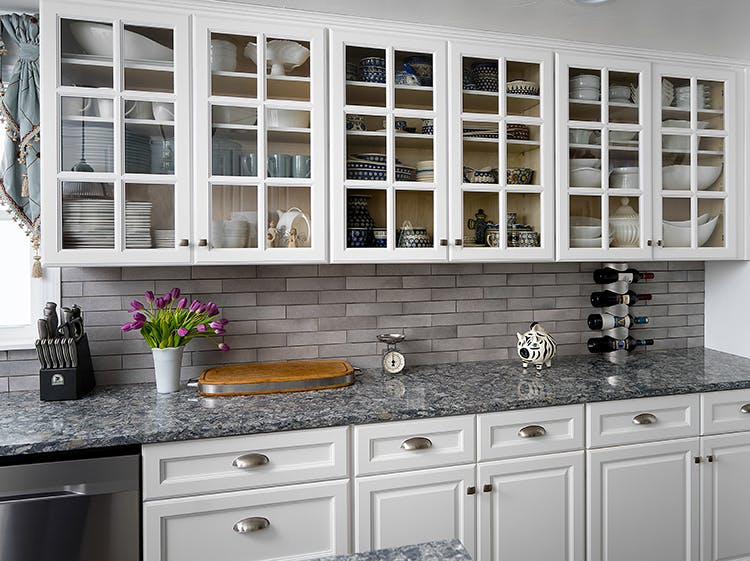 Designing your kitchen with glass fronted cabine