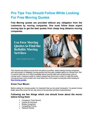 Use Free Moving Quotes To Find The Reliable Moving Services by .