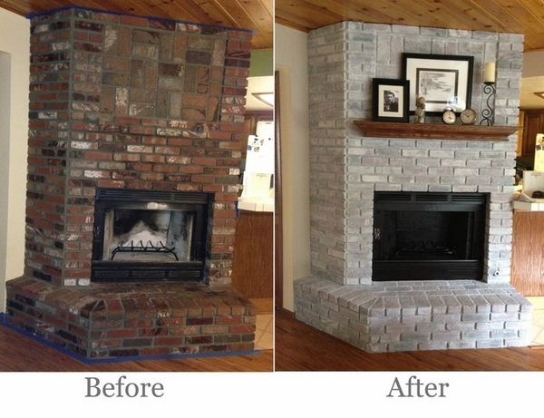 Brick fireplace makeover – before and after ideas and cool .