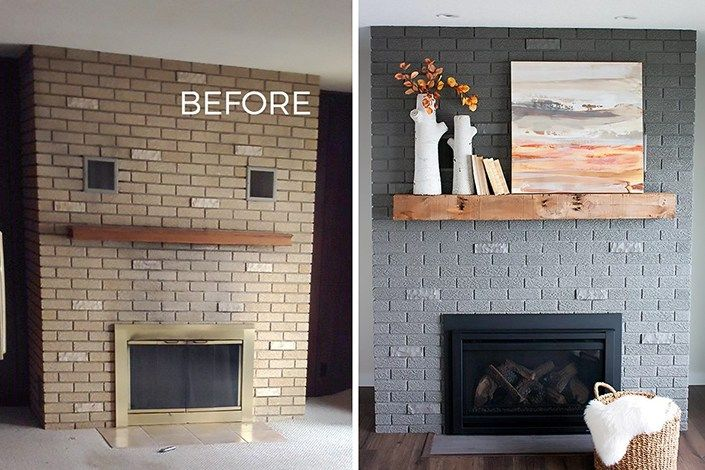 70s Fixer Upper Brick Fireplace Makeover - Before and After .
