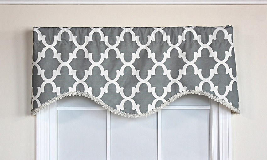 Lindy Cornice Valance - Gray - Curtain Factory Outl