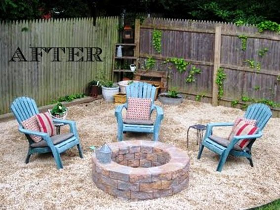 DIY Fire Pit & Gravel Surround | Backyard fire, Fire pit seating .