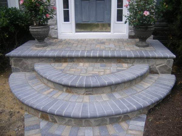 Stone Front Steps Design Ideas | Hardscaping and Landscaping .
