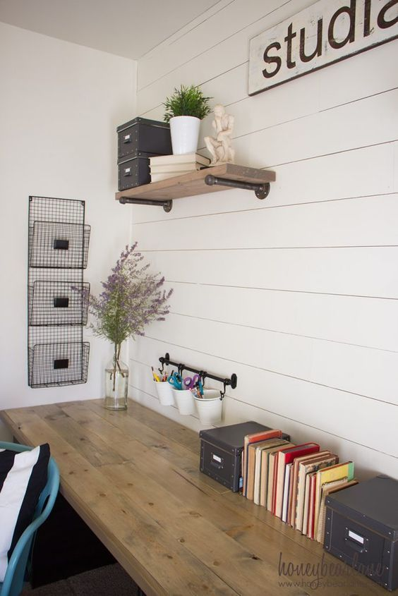 13 Fine DIY Desk Projects | Home office decor, Home office .