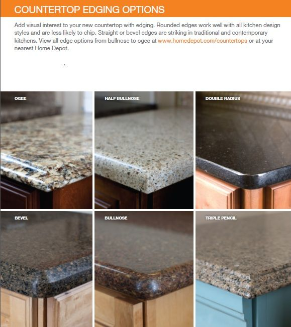 countertop edge options | Countertops, Quartz kitchen countertops .