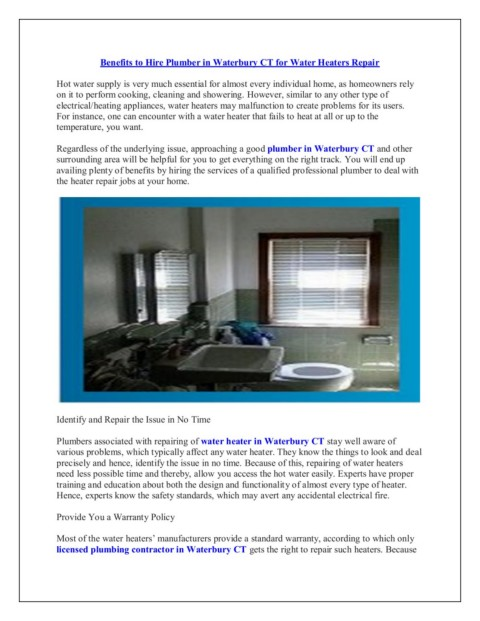 Water Heater Plumber Waterbury CT Pages 1 - 2 - Text Version | AnyFl
