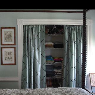 Curtains to cover open closet | Diy closet doors, Curtains for .