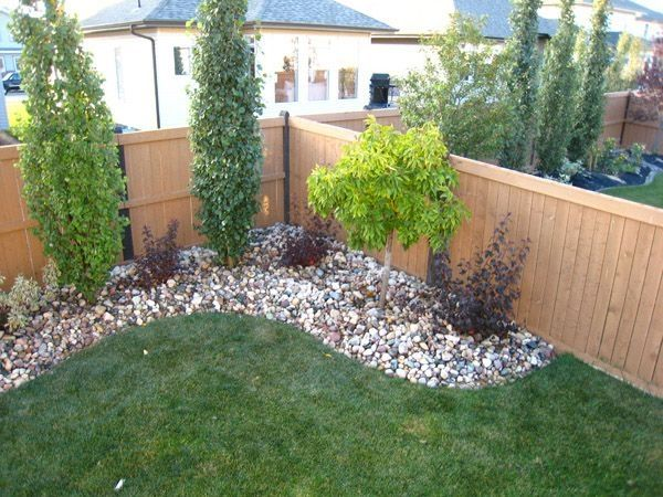 Dress up the corner of your yard with small trees/shrubs. by .