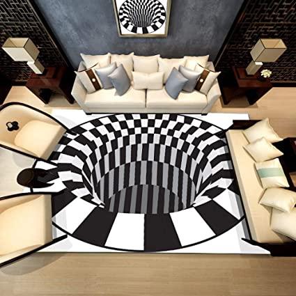 Amazon.com: 3D Area Rugs Black White Geometric Magic Hole Design .