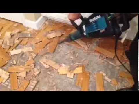 How to remove hardwood glued down from concrete slab - YouTu