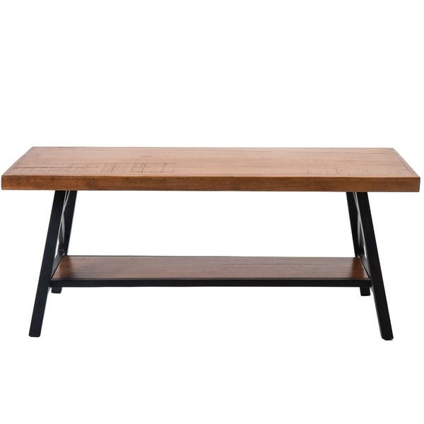 Shop Merax Rustic Solid Wood Coffee Table with Metal Legs .
