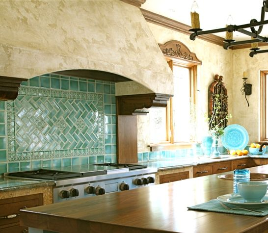 Pretty turquoise tile makes a statement in this Mediterranean .