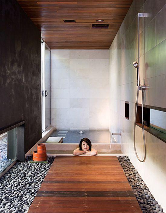 Japanese Bathroom Design... I really like the stones and wood on .