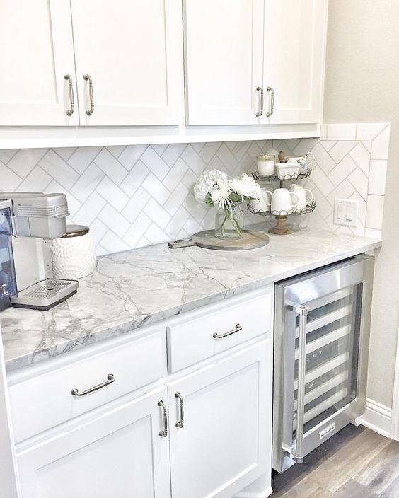 marble countertops + herringbone subway backsplash | Kitchen .