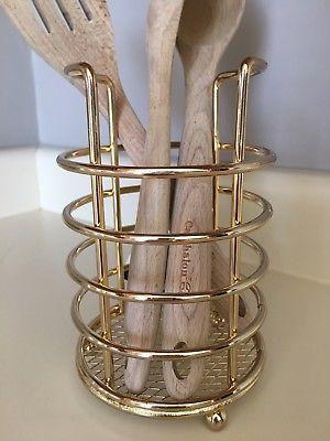 Metal Kitchen Utensil Holder Caddy Storage Yellow Gold Brass .