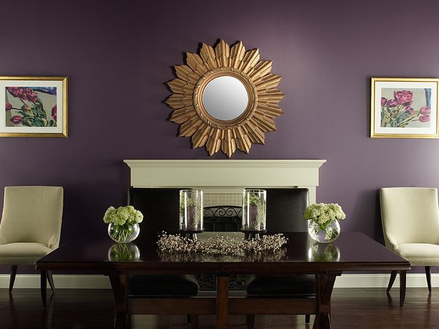 Traditional Dining Room | Purple living room, Accent walls in .