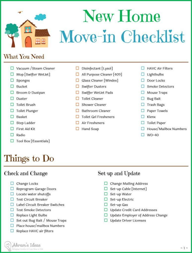 Moving Checklist – What Do I Need for a   New House?