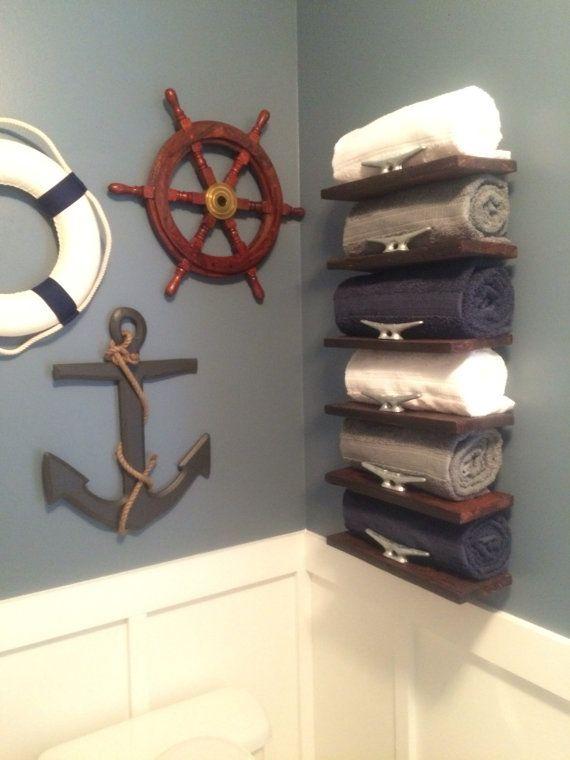 Handmade pallet wood nautical towel rack by Onegirlandasaw on Etsy .