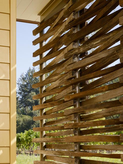 Love this modern contemporary rustic outdoor privacy screen .