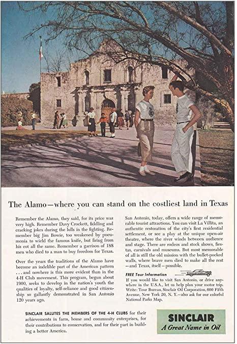 Amazon.com: RelicPaper 1956 Sinclair: Alamo, Costliest Land in .
