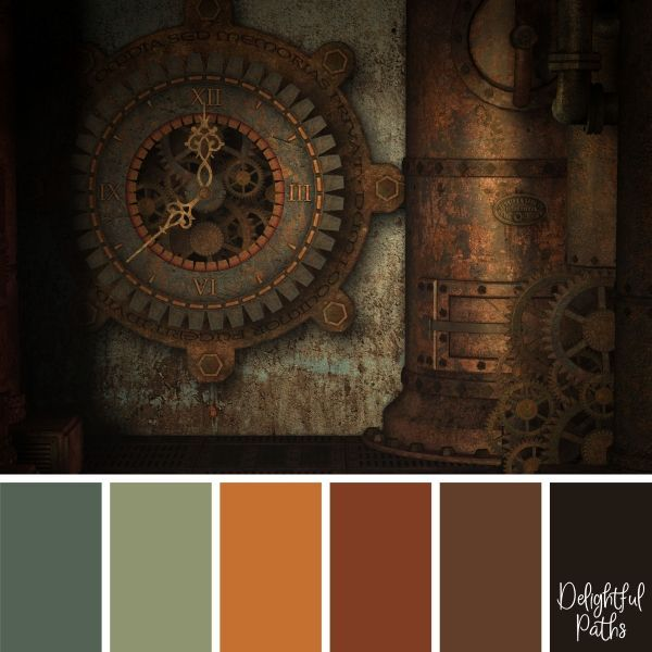 Steampunk Inspired Color Palettes - Delightful Paths | Rustic .